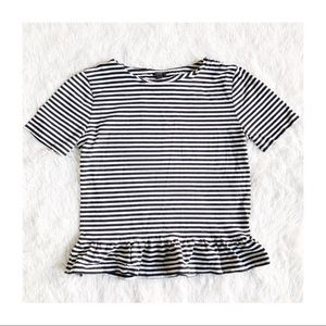 J. Crew Vertical Striped Ruffled Hem Top szSmall
